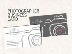Photography business card design for photographer sketched camera business card…