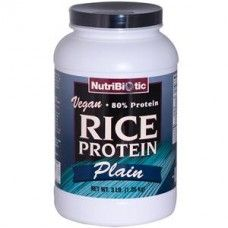 Nutribiotic Vegan Rice Protein.    NutriBiotic Vegan Plain Rice Protein is a high quality, low carbohydrate vegetable protein. This easily digestible protein provides an extensive array of naturally occurring amino acids, the building blocks of protein. Ideal for individuals who suffer from food allergies and digestive difficulties.    http://www.nombox.co.uk/index.php?route=product/product_name=rice+protein_id=37833