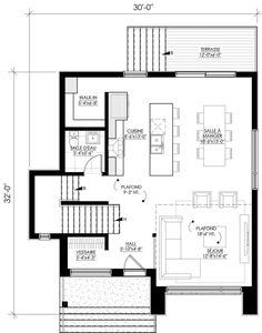Plan de maison Ë_144   Leguë Architecture Sims House Plans, Best House Plans, Small House Plans, India Architecture, Arch Interior, Contemporary House Plans, Cottage Plan, Facade House, House Layouts