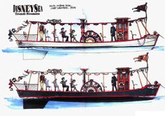 A concept art for the steamer boats of the park