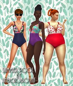 Summer pool swimsuits at Unbichobolita • Sims 4 Updates