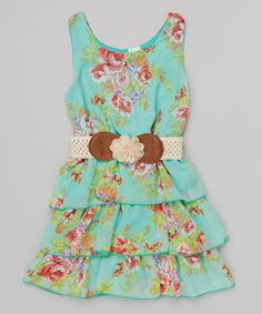 Another great find on #zulily! Mint & Red Floral Belted Tiered Dress - Toddler & Girls #zulilyfinds