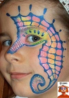DIY Sea Horse Face Paint #DIY #SeaHorses #FacePainting #Birthdays #Birthday #Parties #Party