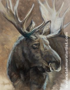 Custom painted murals by Utah mural artist Billy Hensler – Moose Portrait Wildlife Paintings, Wildlife Art, Animal Paintings, Animal Drawings, Moose Pics, Moose Pictures, Animal Pictures, Moose Antlers, Deer