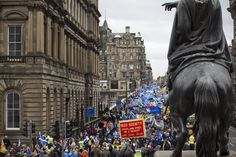 Crowds marching down North Bridge during a pro-Independence march and rally in Edinburgh. Pic © Colin McPherson 2013, all rights reserved.