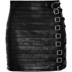 Gucci Buckle-embellished textured-leather mini skirt