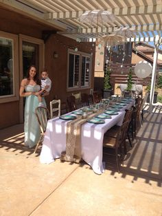 Sprinkle shower theme idea rain lace parasols mix matched chairs rain drops baby boy mint vintage feel one long table white burlap turquoise place settings big brother expecting mommy milk jar paper straws baby's breath modge podge mason jars big round balloon