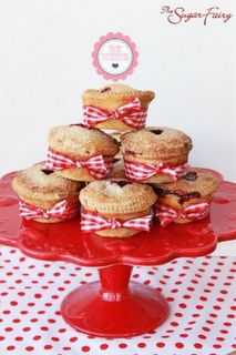 red gingham ribbon on muffins