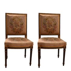 Pair of 19th century needle point French side chairs