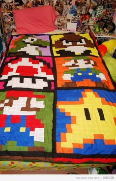 @Jolyn Callen I want this Nintendo quilt!!!!!!!!!!