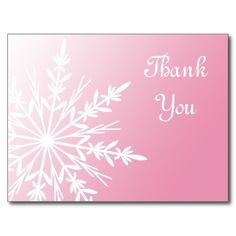 Pink Winter Snowflake Thank You Postcard