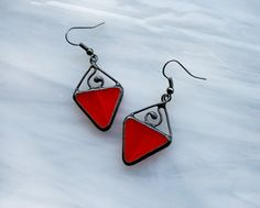 Bright red triangle earrings Summer Fashiont by ArtKvarta on Etsy, $24.00