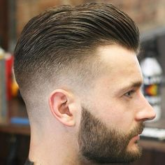 High Fade with Slick Back and Beard For Men