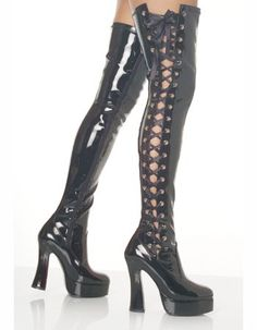 Pleaser Women's Lace Up Side Sexy Thigh High Boot, Black ** Hurry! Check out this great shoes : Over the knee boots