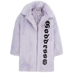HYEIN SEO GODDESS FAUX FUR COAT LILAC ($875) ❤ liked on Polyvore featuring outerwear, coats, trench coat, imitation fur coats, lilac coat, faux fur coat and fake fur coats