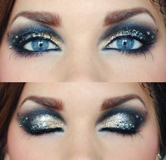 Gold and silver eyeshadow with rhinestones!