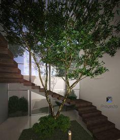 """Proyecto Arquitectónico """" Casa XC03""""       : Pasillo, hall y escaleras de estilo Moderno por PORTO Arquitectura + Diseño de Interiores"""