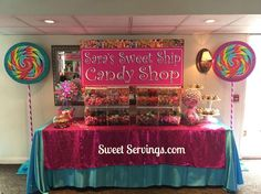 Candy land Table by http://www.sweetservings.com http://www.facebook.com/sweetservings