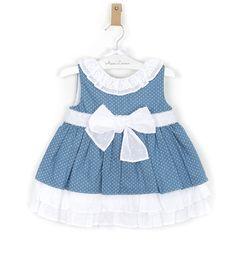 -NUEVO- Vestido niña topitos combinado plumeti blanco | Aiana Larocca