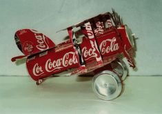 aluminum can sculpture | Click here to purchase the plans to create your own WWI Biplane