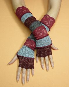 Bohemian Fingerless Gloves in Grey Burgundy Mix, Belly Dance, Lace Armwarmers, Delicate Sleeves, long, Red, Dark Red, Boho $ - OHMYGODYES!