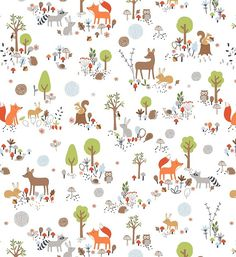 Disney Bambi Pattern Digital Printing Cotton Fabric by Yard - Sweet Forest Bambi by on Etsy Bambi, Sewing Machine Service, Owl Fabric, Cotton Fabric, Woodland Fabric, Woven Cotton, Fox Nursery, Woodland Nursery, Fox And Rabbit