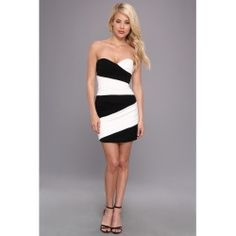 BCBGMAXAZRIA - Kalea Strapless Blocked Dress (White Combo) - Apparel - product - Product Review