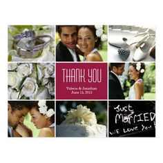 Wedding Collage Thank You Postcard - Burgundy