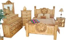 4 PC Rustic Queen Size Bedroom Set with Texas Star & Rope Rustic Bedroom Sets, Rustic Bedroom Furniture, Western Furniture, Retro Furniture, Shabby Chic Furniture, Bedroom Ideas, Bed Ideas, Furniture Ideas, Texas Star