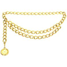 Preowned Chanel Gold Chain Link Medallion Belt ($385) ❤ liked on Polyvore featuring accessories, belts, multiple, hook belt, chain link belt, short belt, chanel and gold belt