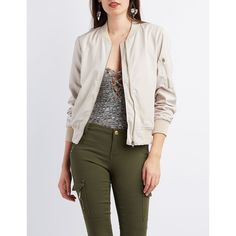 Charlotte Russe Zip-Up Bomber Jacket ($37) ❤ liked on Polyvore featuring outerwear, jackets, khaki, bomber jacket, bomber style jacket, flight jacket, charlotte russe and blouson jacket