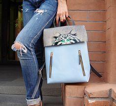 4e203639cbcc Кожаный рюкзак с авторской ручной росписью акриловыми красками Hermes Kelly