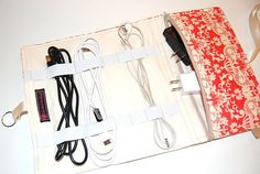 Cord keeper with elastic https://www.etsy.com/listing/226980465/cord-organizer-cable-organizer-charger