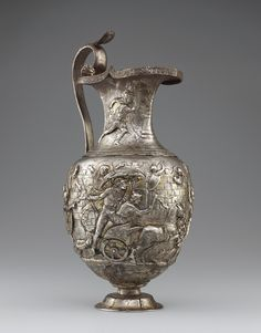 Pitcher with Scenes from the Trojan War, Roman, A.D. 1-100; silver and gold