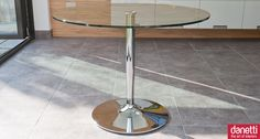 The stylish Naro Round Glass 4 seater dining table is perfect for modern dining rooms and kitchen diners. The sturdy yet stylish round chrome base is a modern trumpet shape and provides a perfect support for the circular clear glass table top.  The table measures 1000mm in diameter, giving plenty of room to seat 4 people comfortably. Made from tempered glass. £225.00