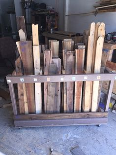 Pallet wood organizer on wheels