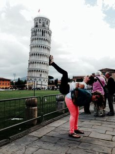 This is a picture that my friend and I took at the Leaning Tower of Pisa. Very difficult to do but love the outcome!