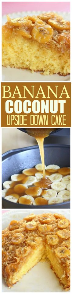 This Banana Coconut Upside Down Cake has a layer of bananas and coconut with a brown sugar sauce infusing every bite. the-girl-who-ate- Just Desserts, Delicious Desserts, Dessert Recipes, Yummy Food, Baking Desserts, Frosting Recipes, Holiday Desserts, Cupcake Recipes, Coconut Upside Down Cake