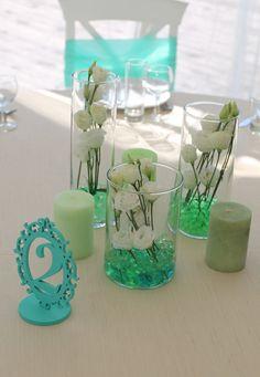 Мятная свадьба. Оформление столов гостей. Композиция на столы