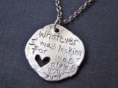 romantic rumi quote necklace handmade silver by peacesofindigo