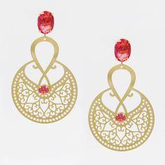 Brinco Mandala com banho de Ouro 18K e Cristal Pink. COMPRE AQUI: http://bberry.com.br/brinco-mandala-cristal-pink.html