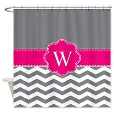 Monogram Pink/Gray Chevron Block Shower Curtain