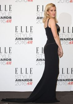 Lady in black: Ellie Goulding followed a classic style rule and stuck to one colour for th...