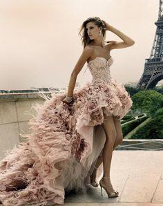 High low feather wedding dress