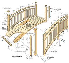 Arched Garden Footbridge #Woodworking Plan #Outdoor