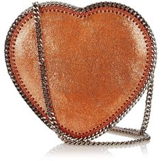 Stella McCartney Heart Falabella faux-suede cross-body bag found on Polyvore featuring bags, handbags, shoulder bags, purses, brown shoulder bag, man bag, brown crossbody, metallic handbags and brown purse