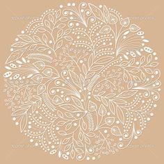белые декоративные цветочные композиции на коричневый фон — Стоковая иллюстрация #52447229