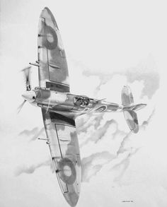 Supermarine Spitfire ~ BFD Aviation Tattoo, Aviation Art, Airplane Drawing, Airplane Art, Ww2 Aircraft, Military Aircraft, Spitfire Tattoo, Military Drawings, Aircraft Painting
