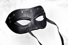 Columbina neutral mask black leather metal stud by MaschereFabula