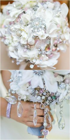 Jewelry bridal bouquet, diamond brooches, pearls, hanging crystals, white hydrangeas // Catherine Ann Photography